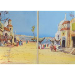 Eugene Gans 'On the Nile' Two Paintings by Eugene Gans Mid Century Mid Century