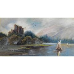 Castle Lake View Watercolour Painting early 20th Century