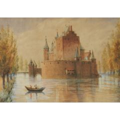 Original Watercolour Castle by Lake early 20th Century
