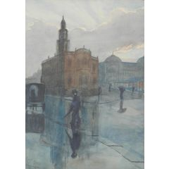 Rain Watercolour Signed Rob Moore early 20th Century