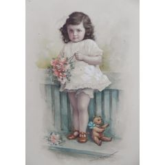 Young Child with Teddybear Watercolor by A Reng 1918 Stunning