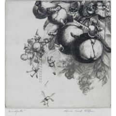 Windfalls Engraving by Alfred Kemp Wiffen