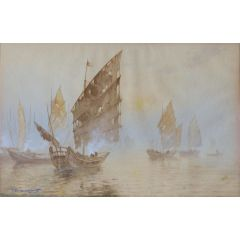 Oriental Boats Watercolour Painting Artist Signed early 20th Century