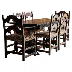 Gothic Style Oak Refectory Table and Six Chairs Set of 1