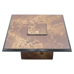 Rare Golden Lacquer and Brass Maison Jansen Bar Coffee Table, 1970s
