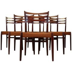 Rare Vintage Set of Six Dining Chairs by Svend Aage Madsen