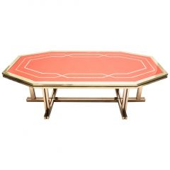 Unique Red Lacquer and Brass Maison Jansen Dining Table, 1970s