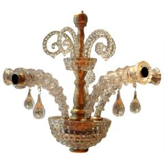 20th Century Italian Murano Transparent Glass Two-Tier Five-Light Chandelier