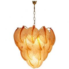1970s Murano Glass Leaves Chandelier by Mazzega