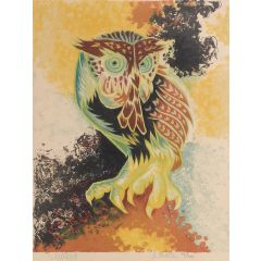 Jean LurcatJean Lurcat Lithograph Owl Limited Edition Hand Signed c1950-1960 unframedc1940-1960