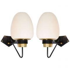 French Modernist Opaline Wall Sconces