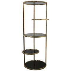 Glass and Metal Articulated Display Unit Five-Tiered Table Plant Stand