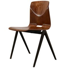 Stackable Pagholz Galvanitas S22 Industrial Diner Chair in Light Brown, 1960s