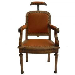 19th Century French Barbers Leather Reclining Armchair