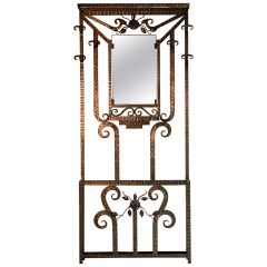 French Art Deco Wrought Iron Coat Stand Hall Stand, France, circa 1930s