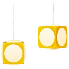 Space Age Yellow Model Dice Ceiling Lamps by Lars Schöler for Hoyrup Lamper, 1970s, Set of 2