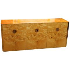 Willy Rizzo Italian Design Burl Birch Wood and Gilt Brass Cabinet, 1970s