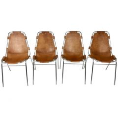 Set of Four Chrome Les Arcs Chairs for Charlotte Perriand