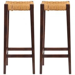 Pair of Abaca and Beechwood Bar Stools