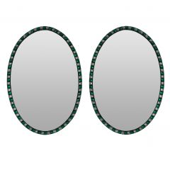 Pair Of Emerald Green & Rock Crystal Irish Mirrors