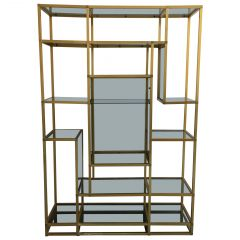 Mid-Century Modern Italian Gilt Aluminum Étagère with Smoked Glasses, 1970s