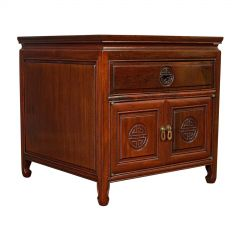 Vintage Bedside Nightstand, Asian, Teak, Side Cabinet, 20th Century, circa 1990