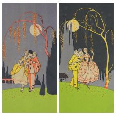 Two Art Deco Prints of Pierrot and Colombine French, circa 1930