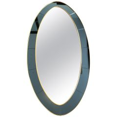 Large Oval Mirror in the Manner of Cristal Arte with Blue Mirror Surround