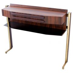 Fully Restored Italian Rosewood and Brass Console Table