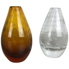 Set of 2 Vintage Bubble Glass Vase by Hirschberg, Germany, 1970s