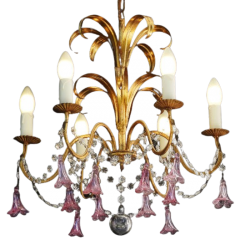 French Six Light Chandelier C1950, Handmade Pink Flower Pendant Drops And Gilded Tôle