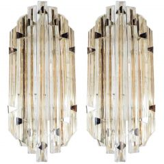 Two Pairs of Modernist Sconces in Pale Amber Murano Glass in the Style of Venini
