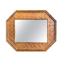 ITALIAN OCTAGONAL RATTAN AND BAMBOO MIRROR IN THE STYLE OF GABRIELLA CRESPI