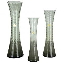 Set of Three Hand Blown Crystal Glass Vases Made by Alfred Taube, Germany, 1960s