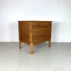 Midcentury plan chest with wooden handles