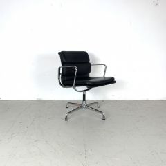 Eames black leather Soft Pad Group chair made by Vitra for Herman Miller