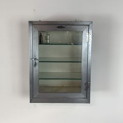Stripped and polished steel medicine cabinet