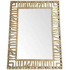 LARGE 1950S WROUGHT IRON AND GILT SPANISH MIRROR WITH TIGER STRIPE DESIGN