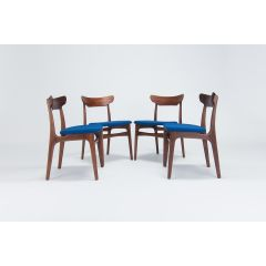 Set Of 4 Mid Century Dining Chairs Designed By Schonning & Elgaard In Teak, Danish 1950'S