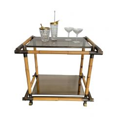 LOVELY 1970S ITALIAN BAMBOO AND BRASS BAR TROLLEY