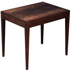 Mid-Century Danish Rosewood Side Table with Drawer by Severin Hansen for Haslev Møbelsnedkeri, 1950s