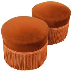Pair of Vintage Fringed Ottomans C1960s France