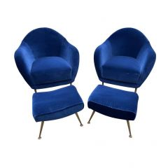 PAIR OF 1950S ITALIAN ARMCHAIRS WITH MATCHING OTTOMANS REUPHOLSTERED IN VELVET