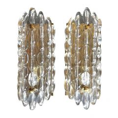 PAIR OF SWEDISH ORREFORS GLASS WALL SCONCES BY CARL FAGERLUND ON BRASS PLATES