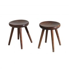 Pair of Four Legged Stools by Charlotte Perriand for Les Arcs