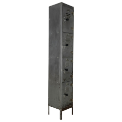 Vintage Stripped And Polished Steel Locker With 4 Compartments