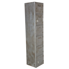 Vintage stripped and polished steel locker with 6 compartments