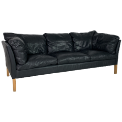MOGENSEN STYLE 3 SEATER BLACK LEATHER SOFA MADE BY STOUBY