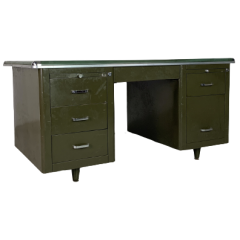 VINTAGE DOUBLE PEDESTAL ORIGINAL PAINTED GREEN STEEL DESK