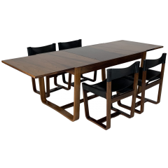1960S Gunther Hoffstead For Uniflex Rosewood Dining Table And Leather Chairs
